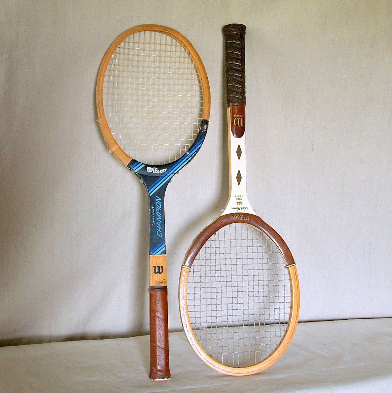 HIS & HERS 2 VINTAGE Tennis Rackets Solid Wood Retro Tennis Racquets Set of 2 Jack Kramer Pro Staff Collection and Chris Evert Champion - ACESFINDSVINTAGE