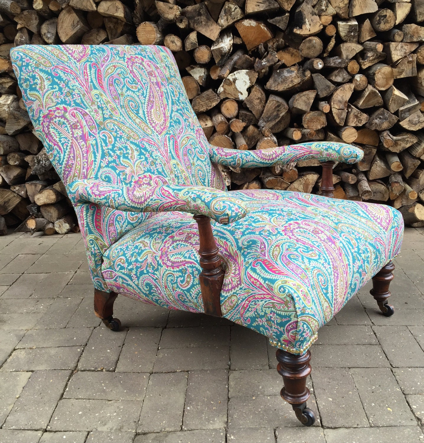 Antique Howard Style Victorian Armchair Reupholstered In Liberty Paisley Fabric