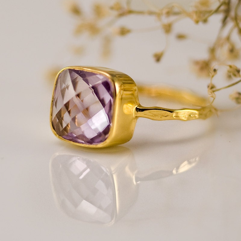 Gemstone Ring - Gold Ring - February Birthstone - Amethyst ring - Bezel Ring - delezhen