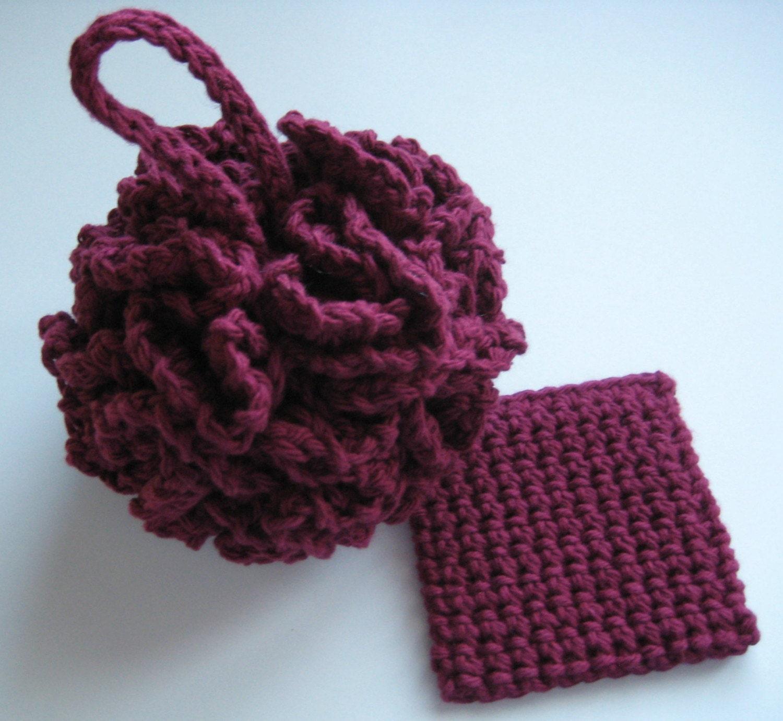 Free Crochet Pattern Bath Pouf : Cotton Crochet Bath Pouf Puff Wine w/ FREE Trial by buyhand