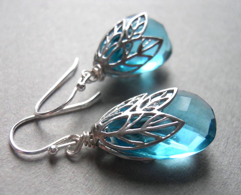 Topaz Blue Quartz Leaf earrings - $54.00 USD