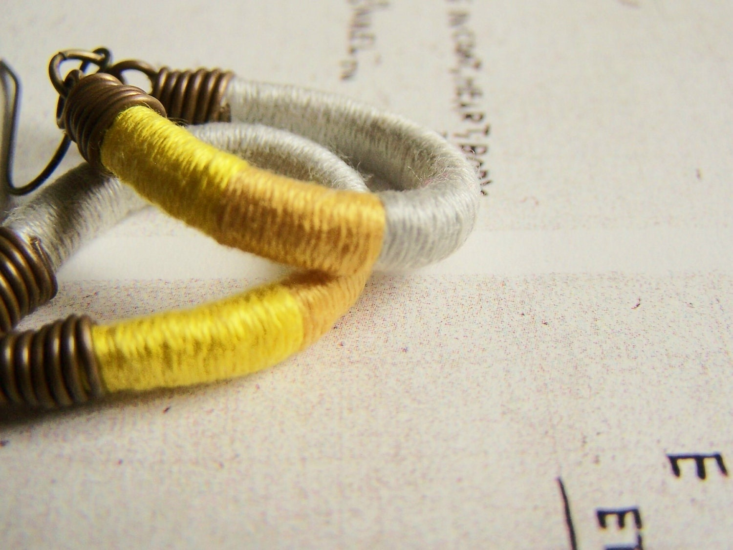 OWEN earrings - textile, leather, antiqued brass (oyster goldenrod canary)