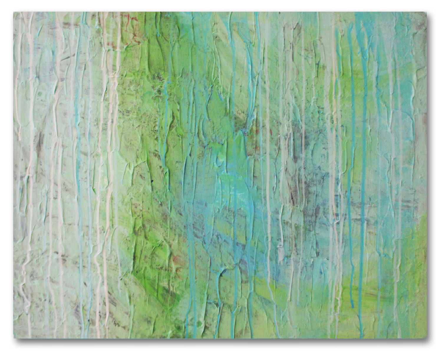 large modern abstract blue and green painting, 30 x 24 inches, thick black edges - pinkvhurgoe