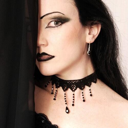 Gothic choker beautiful black with teardrop Victorian steampunk elegance - NIGHTFALL - DarkEleganceDesigns