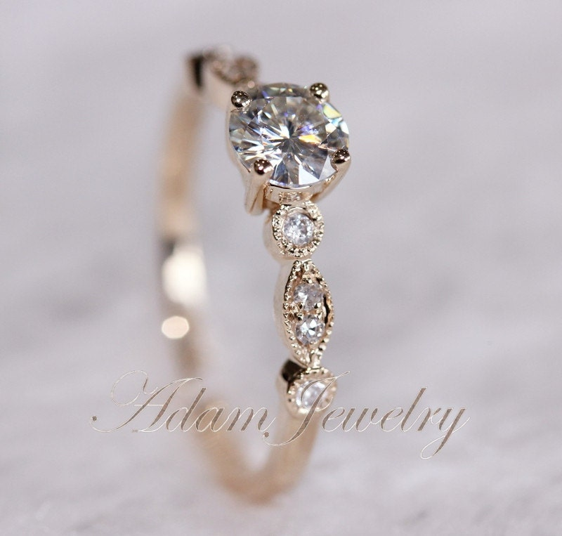 Fancy VS Moissanite Ring VS Accent Diamonds 14K by AdamJewelry