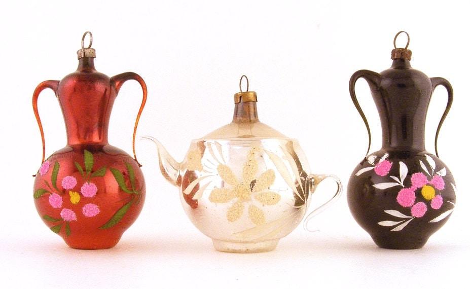 Christmas Ornaments Mercury Glass Urns & Tea Pot Hand Blown Glass West German Lot of 3 - TidBitz