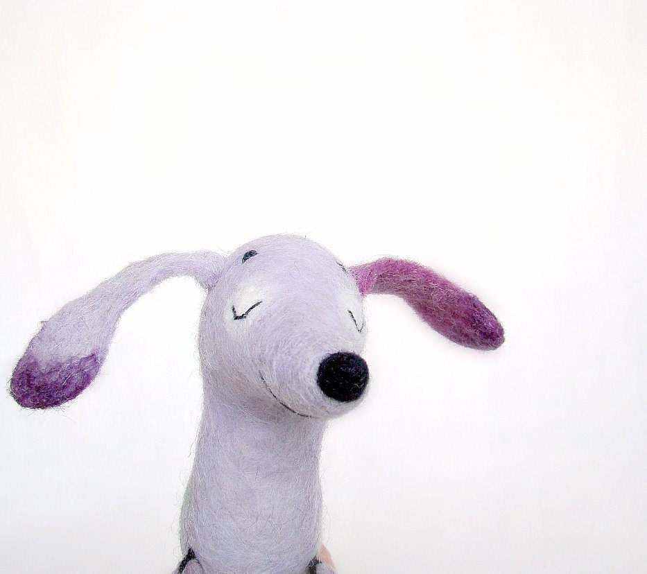 Serafina - Felt Dachshund, Art Puppet Lovely Dog Marionette Felted Cute Stuffed Toy. lilac violet lavender.  MADE TO ORDER. - TwoSadDonkeys