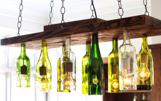 Etsy your place to buy and sell all things handmade vintage and supplies - Wine bottle light fixture chandelier ...