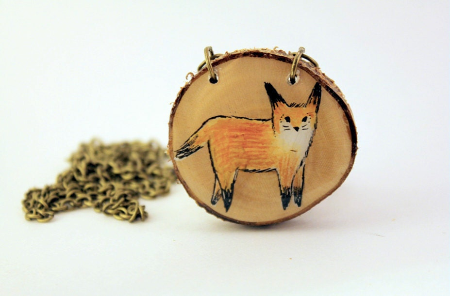 native fox- orange and green hand painted wooden fox necklace - iamabird