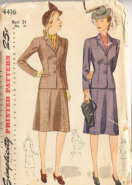 Vintage 40s 1940s Simplicity Suit Sewing Pattern Bust 34 - unused
