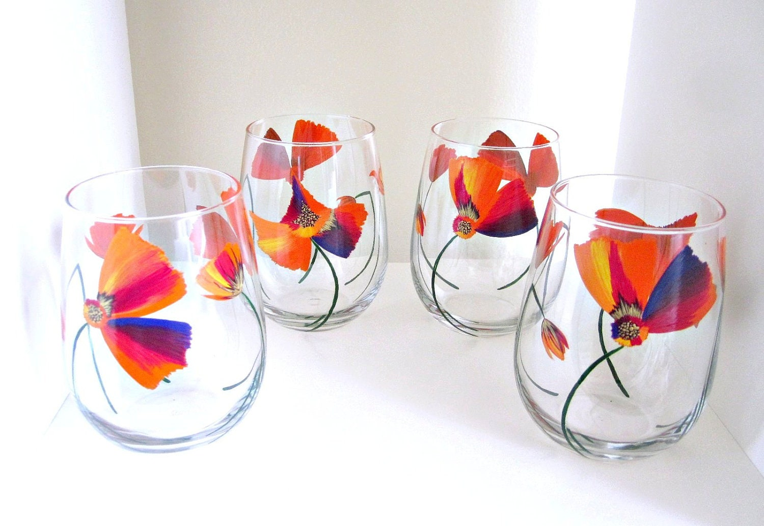 4 drinking glasses hand painted wine set color splash by meku for Hand painted drinking glasses