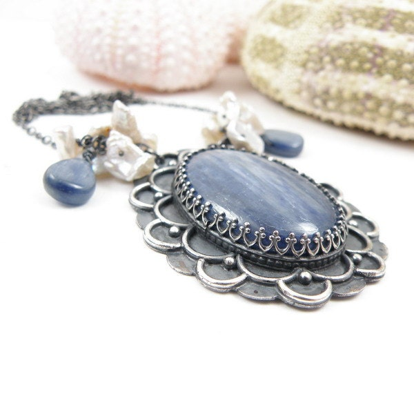 Sterling silver wedding necklace , blue kyanite and keishi pearls - MadeBySunflower