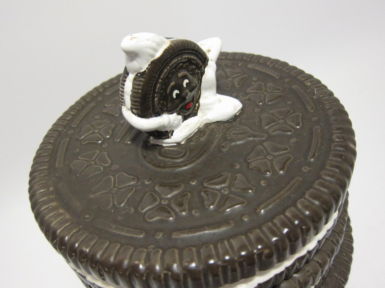 Cookie Shaped Ceramic Oreo Cookie Jar Vintage By Thepantages