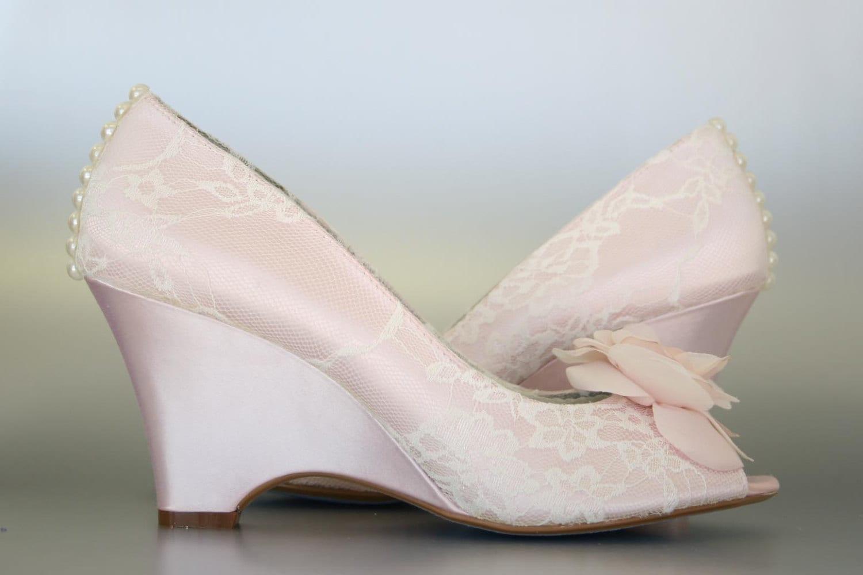 Blush wedding shoes wedges