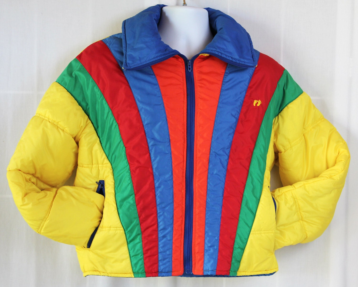 70s Jacket / Rainbow / Hang Ten / Ski Jacket / Bubble Jacket / Fall Fashion / Unisex - PetticoatsPlus