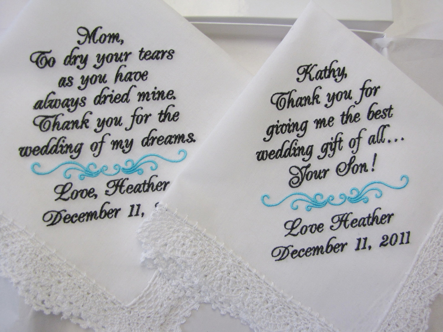 Two Custom Wedding Handkerchiefs for Mother of the Bride and Groom
