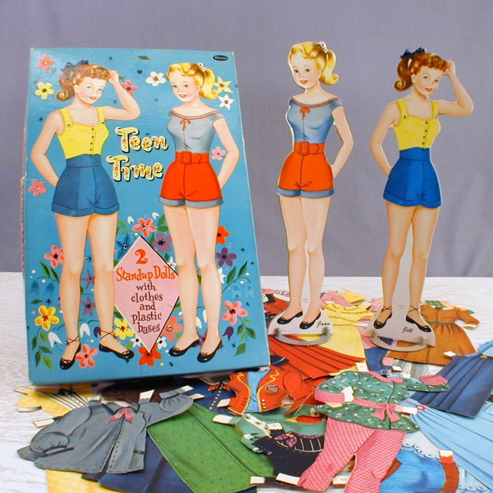 1950s Teen Time Paper Dolls Jill & Joan Costumes and Box