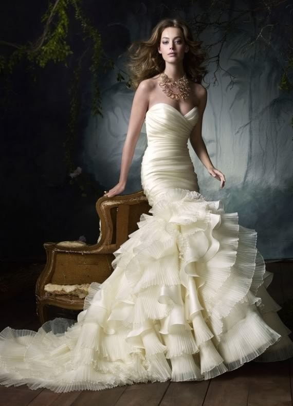 Trumpet Bottom Wedding Dresses : Neckline mermaid trumpet wedding dress gown custom order only