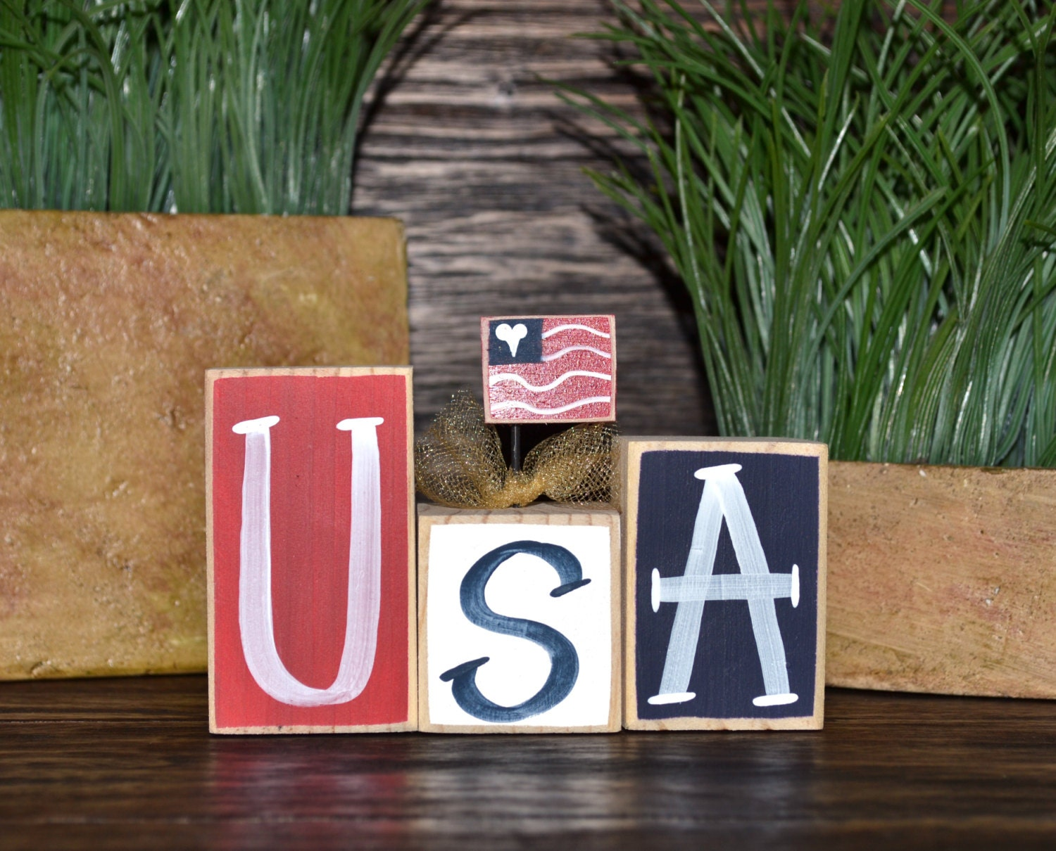 USA 4th of July Decor Patriotic Wood Block Set Independence Day Presidents Day Flag Americana Gift Military Mom Freedom Marines Army Navy - BlocksOfLove1
