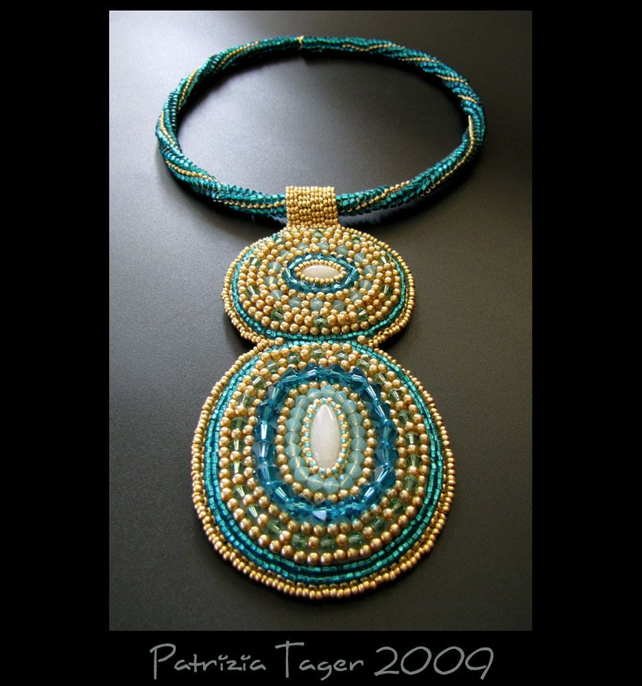 SALE 25% OFF - Blue Lagoon - OOAK Bead Embroidered Teal and Gold Choker Necklace