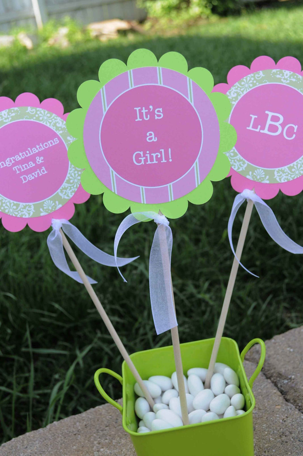 3 centerpiece sticks girls baby shower by sosweetpartyshop. Black Bedroom Furniture Sets. Home Design Ideas