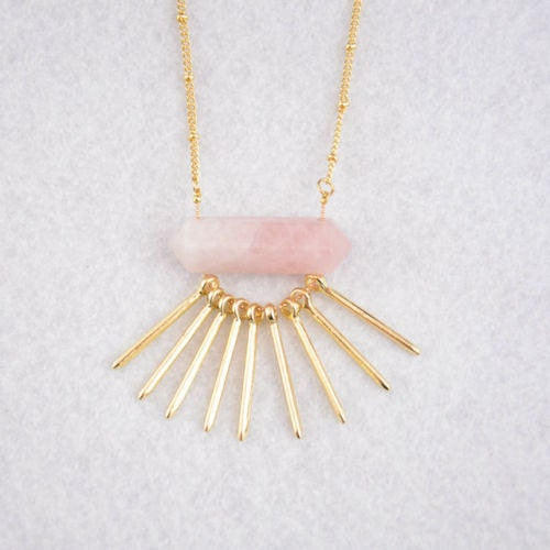 ROSE QUARTZ BAR Necklace Gold Plated  Womens Long Spike Raw Crystal Necklace Modern Layering Healing Crystals Stones Jewelry Jewellery Gift