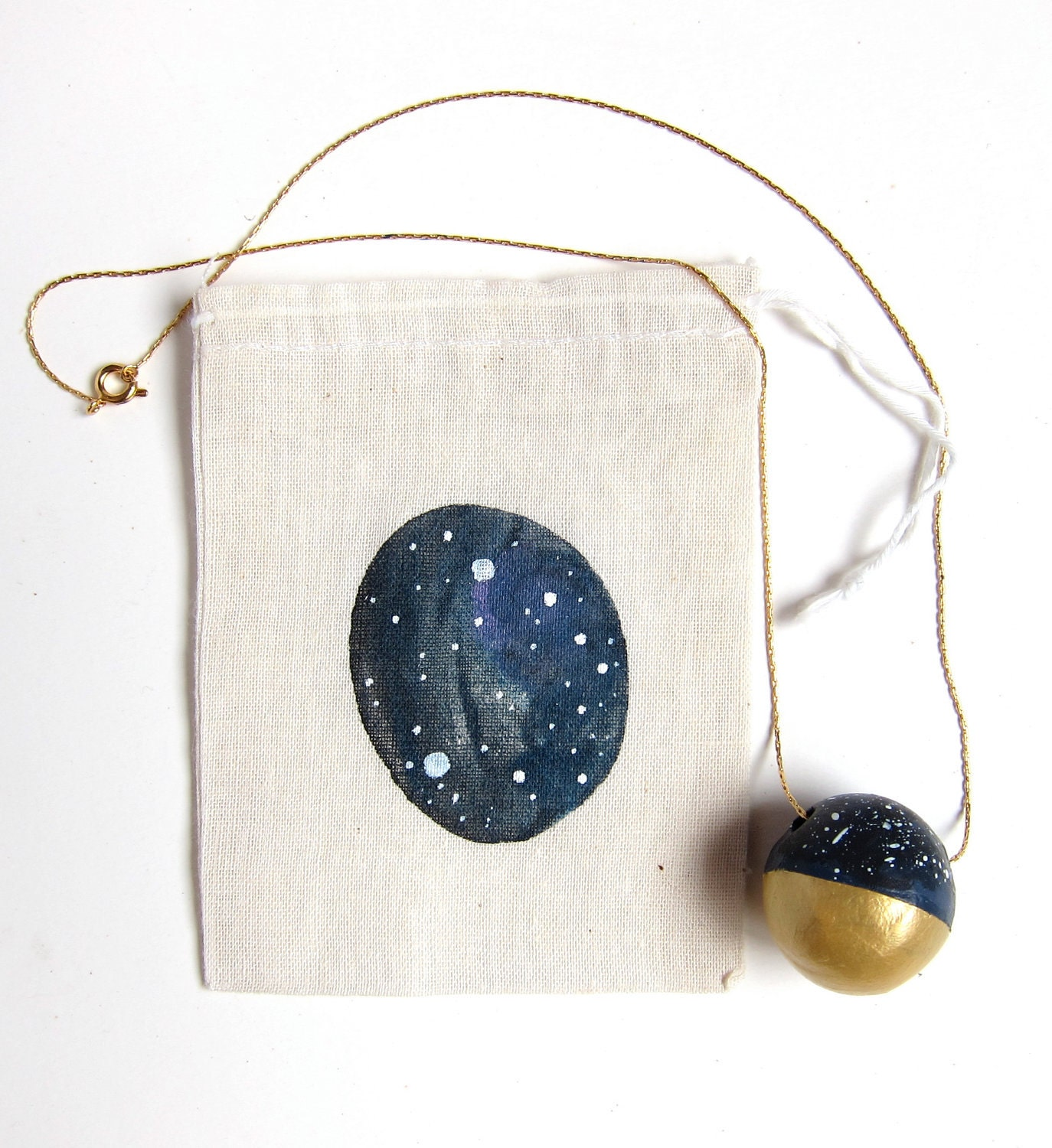 Constellation necklace - night sky - stars - gold dipped - astrology print - gift set - zodiac - navy black gold white - charity - oneeyeddog