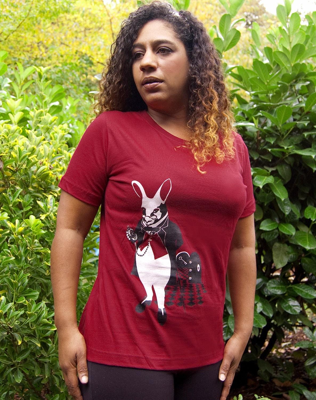 Alice in Wonderland t-shirt, White Rabbit Womens Garnet t-shirt