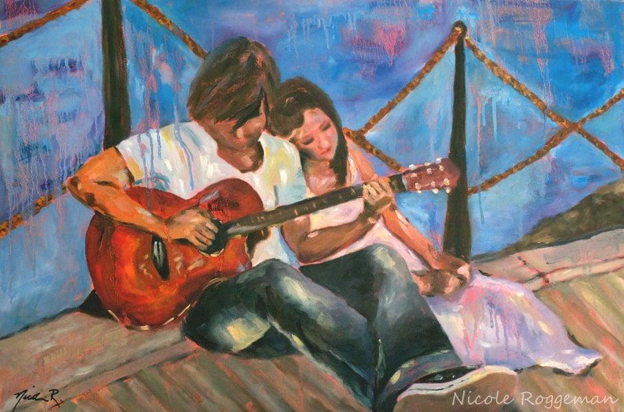 Boy Girl And A Guitar Love Nicole Roggeman Etsy Art By