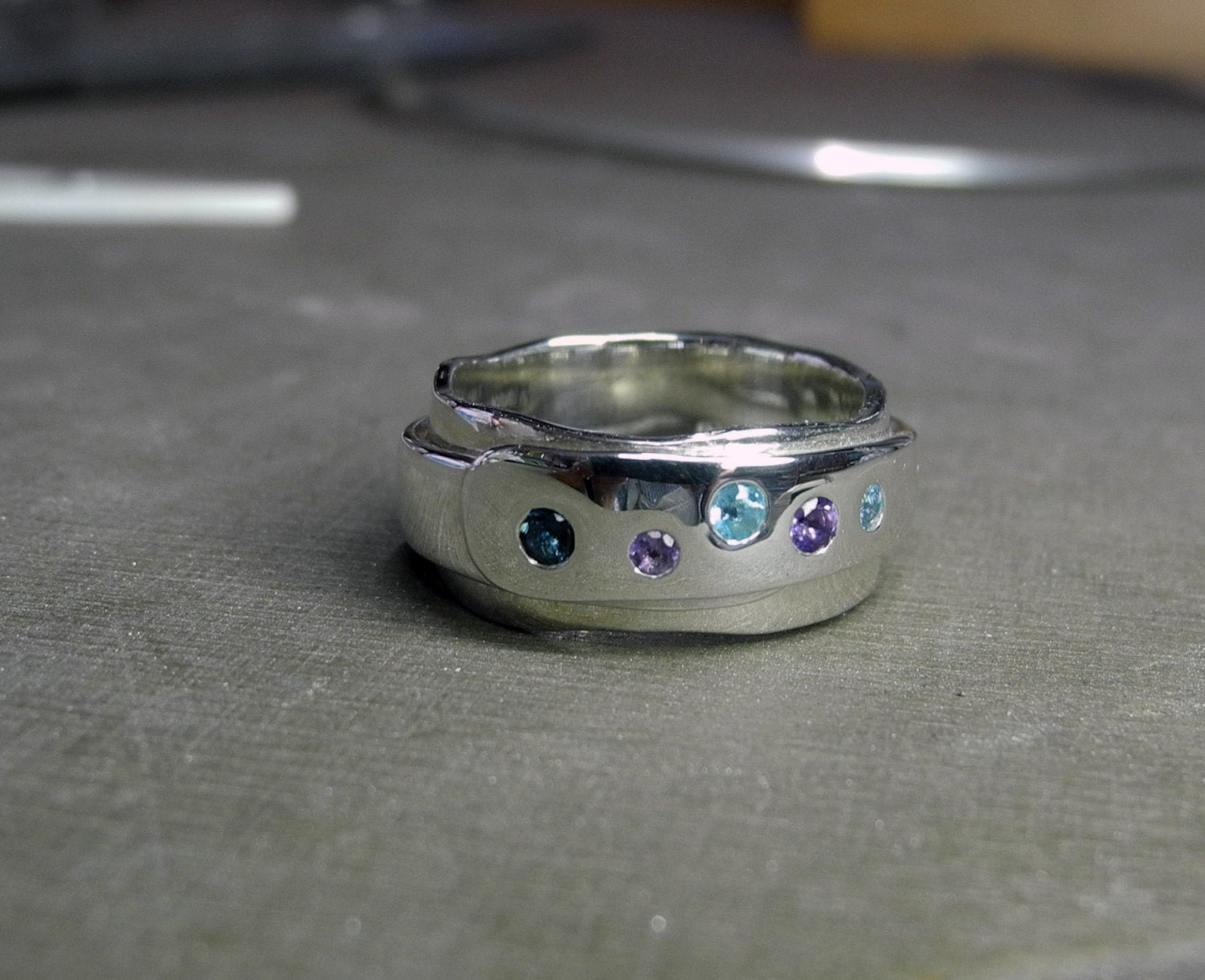 Wrapt Ring with amethyst topaz and aquamarine
