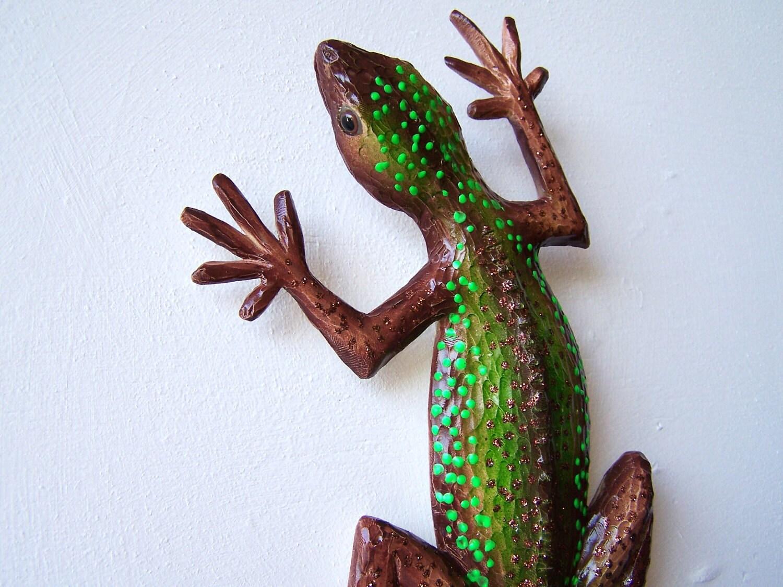 Outdoor Wall Decor Gecko : Lizard art gecko sculpture wall decor by artistjp on etsy