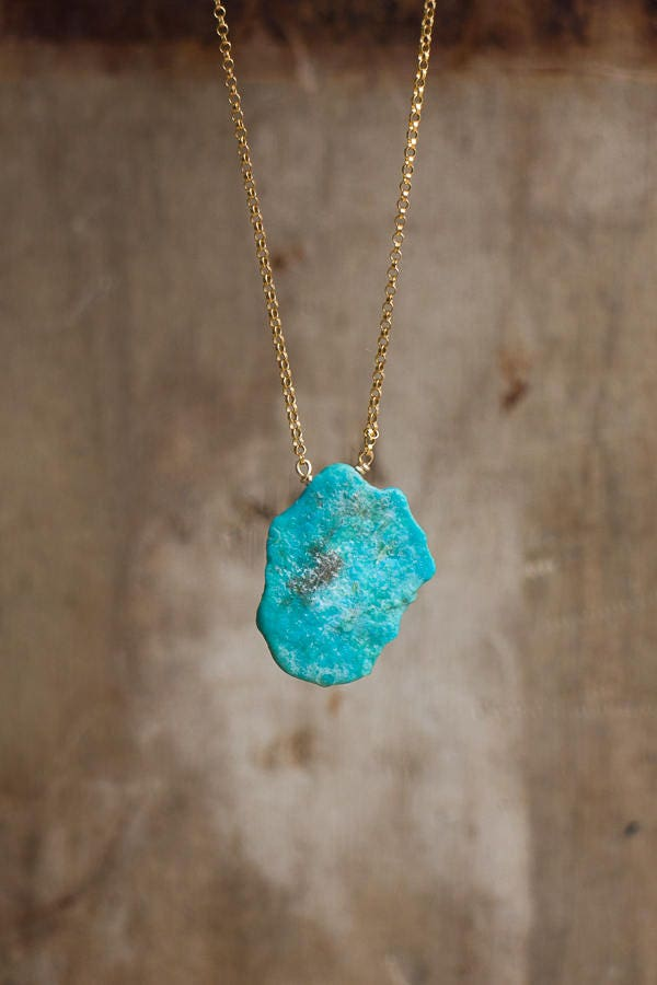 Raw Turquoise Slab Necklace December Birthstone Genuine Arizona Turquoise Necklace Natural Turquoise Jewellery Rough Stone Necklace