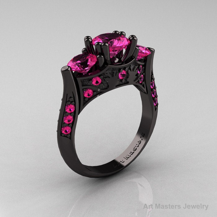 Nature Inspired 14K Black Gold Three Stone Pink by artmasters
