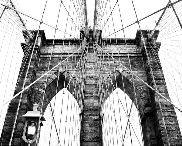 Black and White Photography - Brooklyn Bridge 1 - 8 x 10