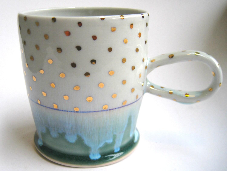 MADE TO ORDER Gold Polka Dot Porcelain Mug - SilverLiningCeramics