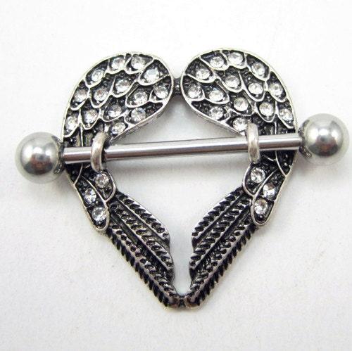 Gem angel wings nipple shield nipple ring titanium steel for Angel wings nipple piercing jewelry