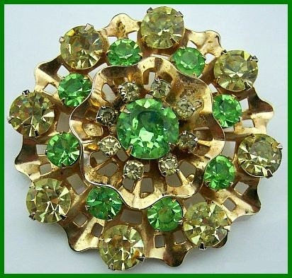 "Vintage Rhinestone Brooch or Pin w Lime Green & Yellow Stones Gold Metal Flower Motif Jewelry 2"" EX - BrightgemsTreasures"