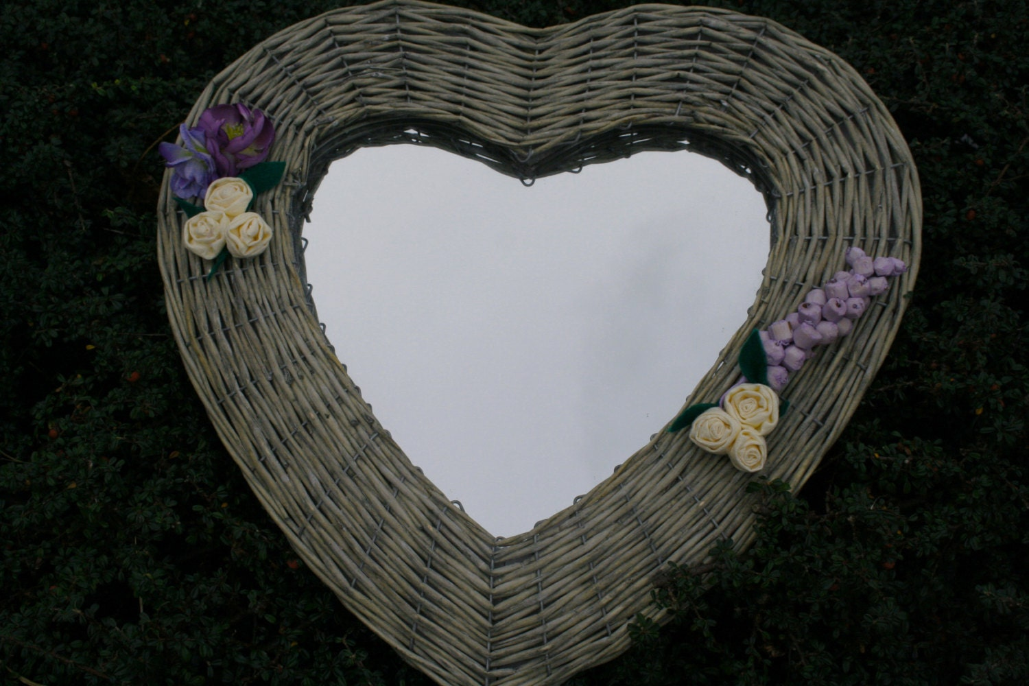 Heart Shaped Wicker Mirror decorated with handmade flowers