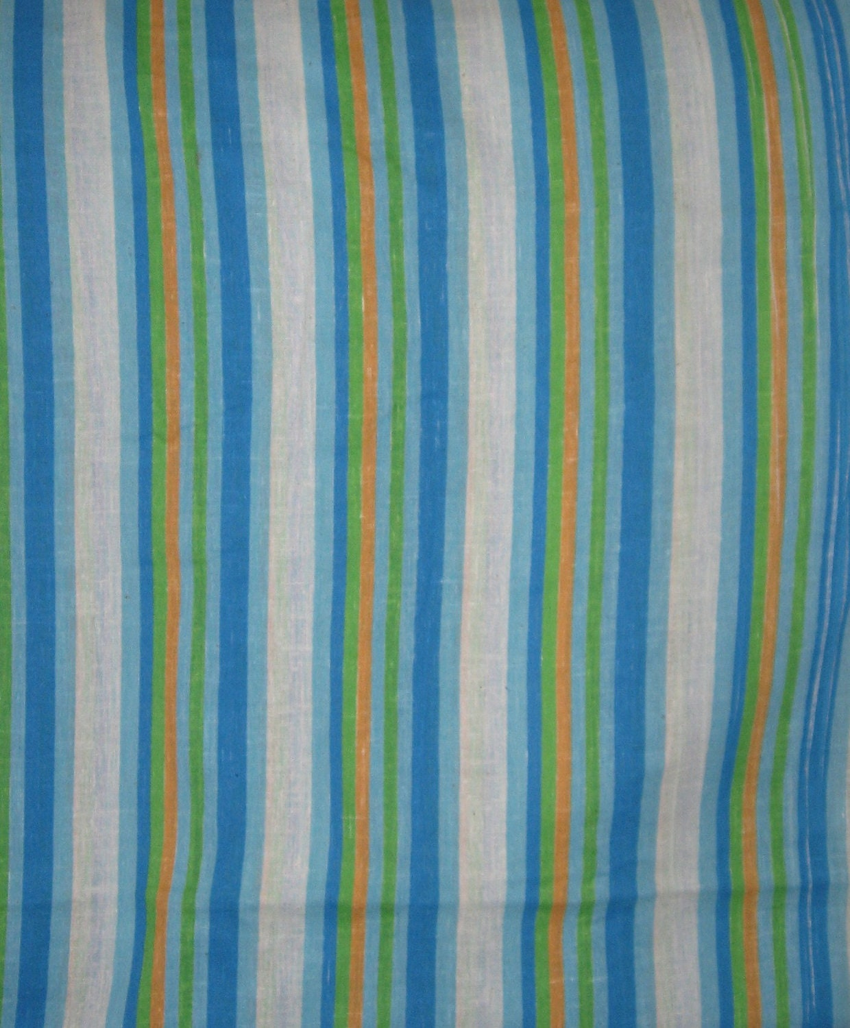 Curtain fabric - blue, green, white and orange striped - 2 yards plus ...
