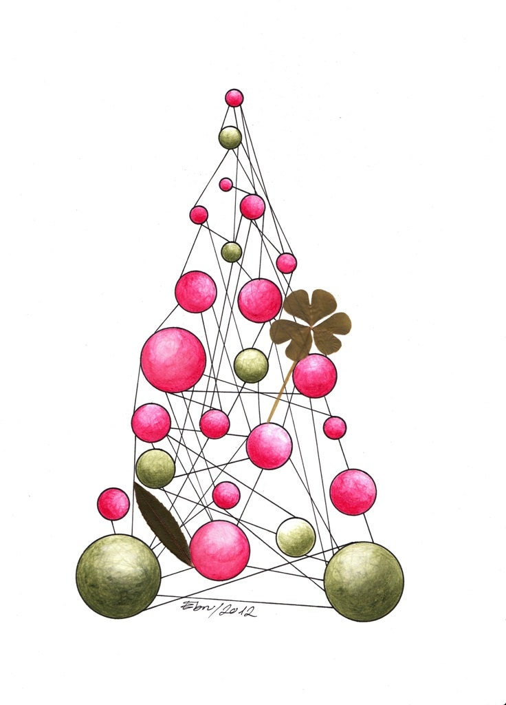 PROMOTIONAL PRICE  Christmas Clover Tree, Art Print Signed Ebru Acar Taralp 5.8''x8.2'' - StudioJolly