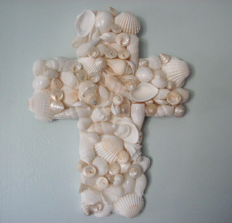 Пляж Декор Seashell Креста - Shell Креста для декора стен, религиозным Белый