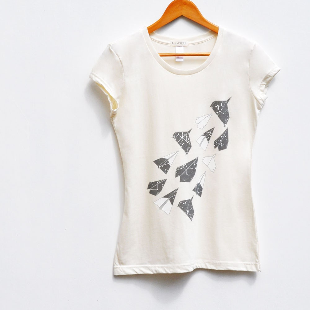 Aerodynamic. Origami, Paper Planes, Constellation Tshirt, Women in Natural, Organic Cotton Tee - milatree