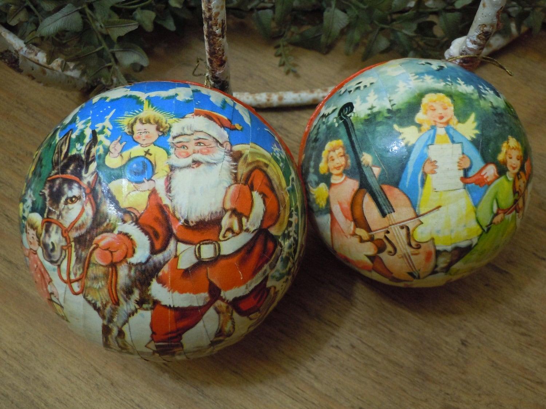 Vintage paper mache christmas balls