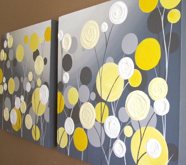 Wall Art Textured Yellow And Grey Abstract By MurrayDesignShop