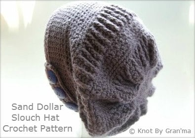 Sand Dollar Slouch Hat - PDF Crochet Pattern - knotbygranma
