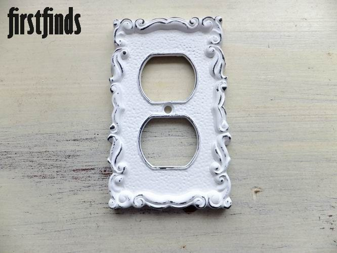 Decorative Wall Plates Electrical Outlets : Shabby chic decorative white electrical outlet by firstfinds