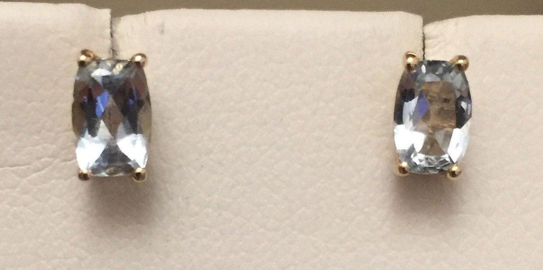 Vintage 9ct gold Aquamarine earrings