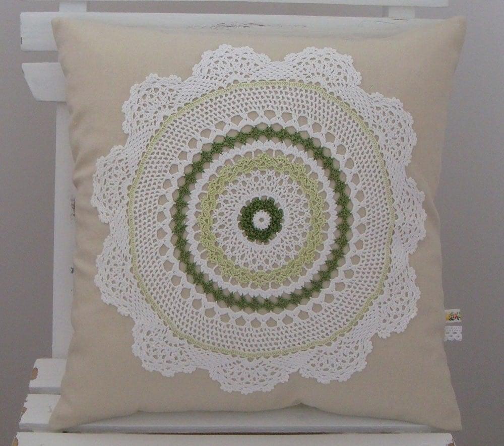 Bardak altlığı peçete Yastık.  Yeşil.  Beyaz.  Doğal (104)
