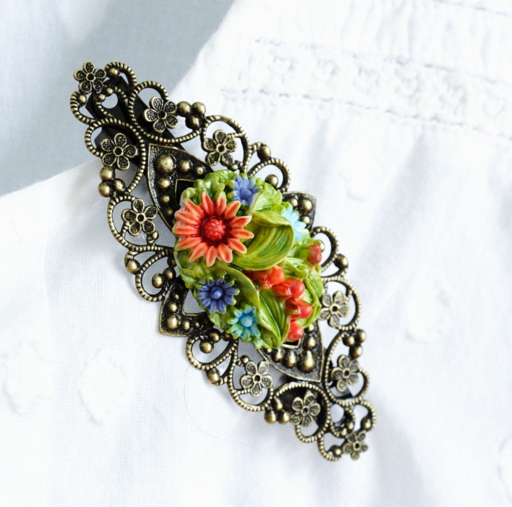 Whimsical Hair Barrette in Antique Brass Filigree With Spring Flowers
