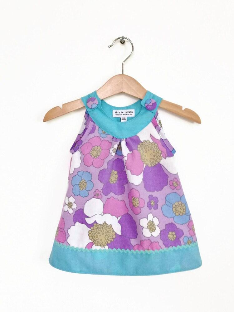 Vintage purple florals infant dress retro baby girl clothes uk
